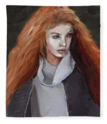 Girl With The Red Hair Fleece Blanket
