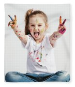 Girl With Victory Sign Sticking Out Her Tounge Fleece Blanket