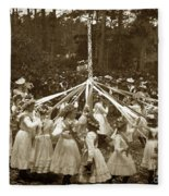 Girls  Doing The Maypole Dance Pacific Grove Circa 1890 Fleece Blanket