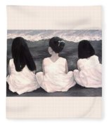 Girls In White At The Beach Fleece Blanket
