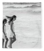 Girls On Beach Fleece Blanket