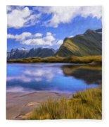 Glacier Lake On The Milford Track Fleece Blanket
