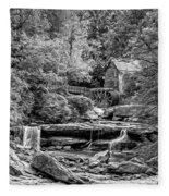 Glade Creek Grist Mill 3 - Paint 2 Bw Fleece Blanket