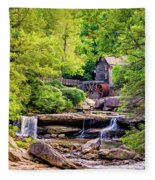 Glade Creek Grist Mill 3 - Paint Fleece Blanket