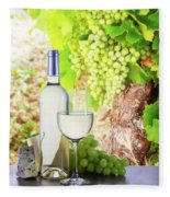 White Wine In Vineyard Fleece Blanket