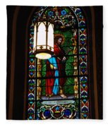 Glass Window Of Saint Philip In The Basilica In Santa Fe  Fleece Blanket