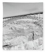 Glen Canyon Bridge Bw Fleece Blanket