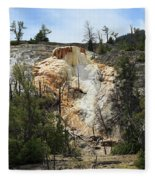 Glen Spring At Mammoth Hot Springs Upper Terraces Fleece Blanket