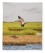 Gliding Over A Shell Island Fleece Blanket