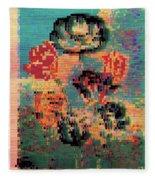 Glitched Tulips Fleece Blanket