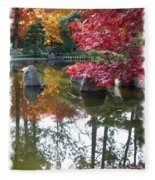 Glorious Fall Colors Reflection With Border Fleece Blanket