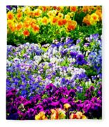 Glorious Pansies Fleece Blanket