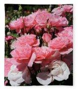Glorious Pink Roses Fleece Blanket