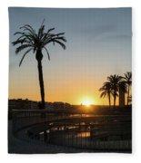Glorious Sevillian Sunset With Palms Fleece Blanket