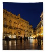 Glossy Outdoor Living Room - Passeggiata On Piazza Duomo In Syracuse Sicily Fleece Blanket