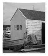 Gloucester Boathouse In Black And White Fleece Blanket