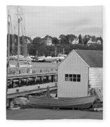 Gloucester Harbor Scene In Black And White Fleece Blanket