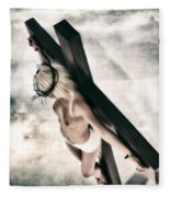 Glow Crucifix I Fleece Blanket