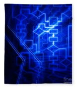 Glowing Blue Flowchart Fleece Blanket