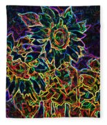 Glowing Sunflowers Fleece Blanket