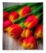 Glowing Tulips Fleece Blanket