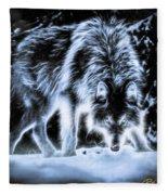 Glowing Wolf In The Gloom Fleece Blanket
