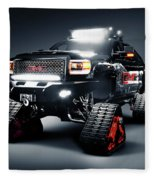 Gmc Pickup Truck On Snow Tracks Fleece Blanket