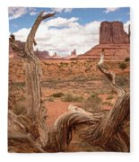 Gnarled Tree At Monument Valley  Fleece Blanket