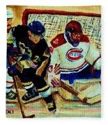 Goalie  And Hockey Art Fleece Blanket