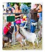 Goats At County Fair Fleece Blanket