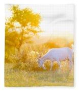 Goats Grazing At Sunset Fleece Blanket