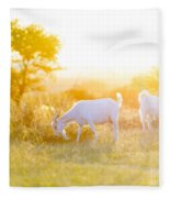 Goats Grazing In Field Fleece Blanket