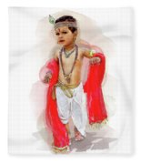 God Krishna Style Watercolor Fleece Blanket