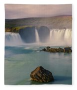 Godafoss In Iceland Fleece Blanket