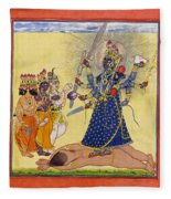Goddess Bhadrakali Worshipped By The Gods. From A Tantric Devi Series Fleece Blanket
