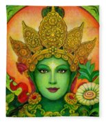 Goddess Green Tara's Face Fleece Blanket