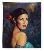 Goddess Of The Summer Rose Fleece Blanket