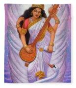 Goddess Saraswati Fleece Blanket