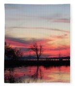 God's Hand On The Lake Fleece Blanket