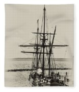 Godspeed At Port In Jamestown Fleece Blanket