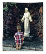 Going Before The Sacred Heart Of Jesus Fleece Blanket