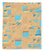 Gold And Aqua Mid-century Modern Fleece Blanket