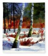 Gold Bushes Watercolor Fleece Blanket