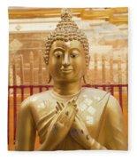 Gold Leaf Buddha Fleece Blanket