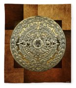 Gold Mayan-aztec Calendar On Brown Leather Fleece Blanket