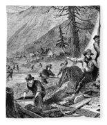 Gold Mining, 1853 Fleece Blanket