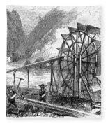 Gold Mining, 1860 Fleece Blanket