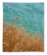 Gold Thistles And The Aegean Sea Fleece Blanket