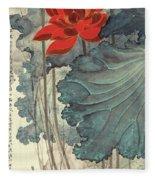 Gold Thread Lotus Fleece Blanket
