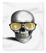 Skull With Gold Teeth And Sunglasses Fleece Blanket